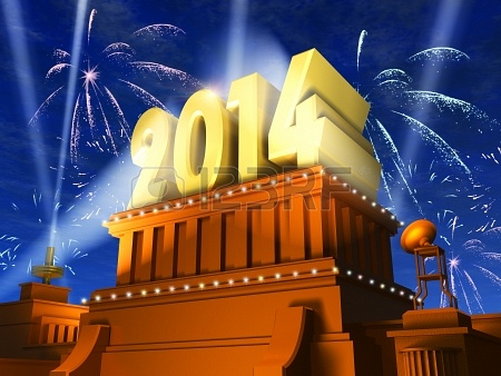 23094718-creative-new-year-2014-celebration-concept-shiny-golden-2014-text-on-pedestal-at-night-with-firework